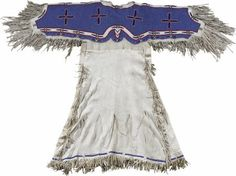 Native American:War Shirts/Garments, Sioux Dress with four beaded crosses. Circa Length 54 in.Width 55 in. This native tanned hide dress is tailored in. Native American Dress, Native American Women, Native American Beadwork, Native American Indians, American War, Native Indian, Native Americans, Beaded Cross, Bead Loom Bracelets