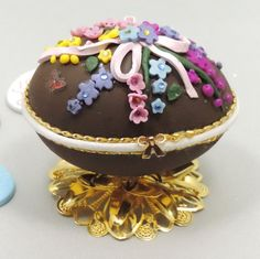 Chocolate Easter Egg Easter Egg Decorated by NatalieOrigStudio, $40.00