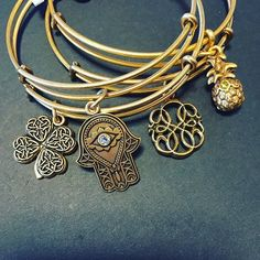 ALEX AND ANI Path of Symbols Re-design | Four Leaf Clover Charm bangle | Hand of Fatima Charm Bangle | Path of Life Charm Bangle | Pineapple Charm Bangle