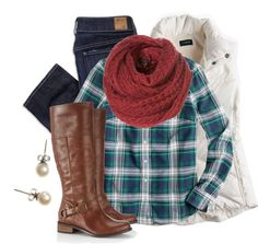 """""""Plaid, Pearls, & Puffer Vest"""" by qtpiekelso on Polyvore"""
