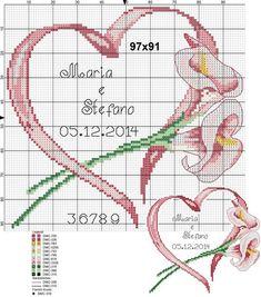 "Photo from album ""Схемы для Вышивки / Schemi punto croce"" on Yandex. Just Cross Stitch, Cross Stitch Heart, Cross Stitch Cards, Cross Stitch Flowers, Cross Stitching, Embroidery Hearts, Cross Stitch Embroidery, Embroidery Patterns, Wedding Cross Stitch Patterns"
