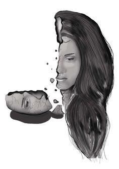 Cuando la razón se rompe y quiebra en dos pedazos. #mind #broke #crazy #illustration #drawing #Folet www.foletpouvoir.com