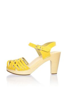 Swedish Hasbeens Women's Braided Leather Sandal (YELLOW)