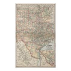 Vintage Map of Texas and Oklahoma (1891) Poster