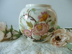 Beautiful Vintage Sadler Oriental/Asian Style Vase With Flowers - Peach And Mint Colors by MossyCottage on Etsy
