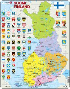 Coat of Arms. Lappland, Helsinki, Scandinavian Tattoo, Finnish Words, Finnish Language, Finland Travel, Scandinavian Countries, Fjord, Historical Maps