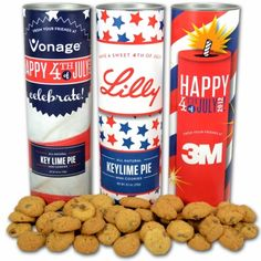 Festive Fourth of July Cookie Canisters for your business' family picnic or customer appreciation event. LOVE sofias cookies - absolutely DELICIOUS!