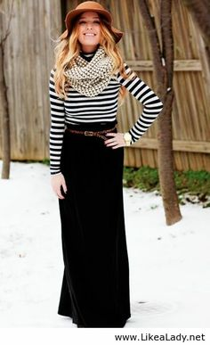 Winter maxi black skirt with striped tee, chunky scarf