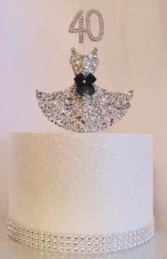 Black white and silver elegant 40th birthday cake Cake by
