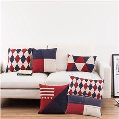 Nordic Ikea British Style Geometric Designs Sofa Office Linen Pillow Cover 6 Designs