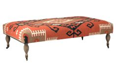 One Kings Lane - The New Southwest - Cora Kilim Ottoman, Orange/Brown