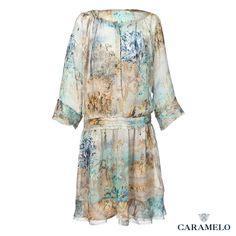 Vestido de #Seda con bajo al Taglio de la Colección Femenina de #Caramelo
