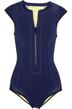 Duskii - Maui Perforated Neoprene Swimsuit - Navy - x small