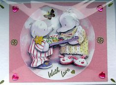Breakfast in Bed  HandCrafted 3D Decoupage Card by SunnyCrystals