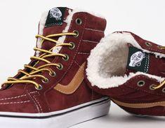 #Vans Sk8 Hi Fleece Burgundywith fur #Sneakers