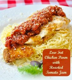 Low Fat Baked Panko Chicken Parmesan with roasted tomato jam. Crispy baked chicken with an intensely flavoured roasted tomato sauce. Bottling or freezing this delicious jam is a great way to use those end of summer tomatoes too!