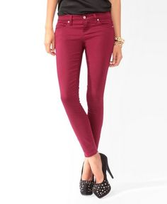 burgundy -- Zippered Denim Ankle Skinnies | FOREVER21 - 2021840039