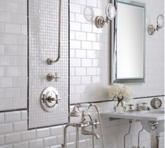 30 Bathroom Tile Ideas That Will Astonish You: White Subway and Unique Accent Bathroom Tile