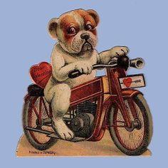 Vintage Valentine's Day Card VALENTINE 1920s Bulldog on a Motorcycle GERMANY (06/04/2014)