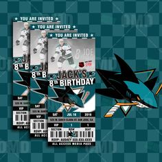 These San Jose Sharks Hockey Invitations are great for Sports Fans of all ages, Birthdays, Save-the-Date, Baby Shower or Wedding Invitations! We can customize it to your favorite team and modify the colors.