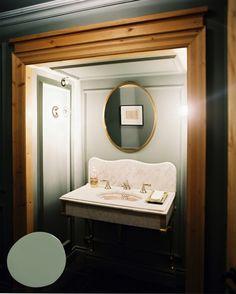 "Vanity ""Nook"" - Interior Design by Frank Muytjens Man Bathroom, Bathroom Photos, Washroom, Bathroom Ideas, Green Cabinets, House Design Photos, Retail Store Design, Vintage Bathrooms, Beautiful Bathrooms"