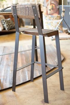 This rustic counter height stool has a great minimalist design that matches any contemporary environment. Order this metal and reclaimed wood bar stool today! Welded Furniture, Iron Furniture, Steel Furniture, Industrial Furniture, Rustic Furniture, Furniture Decor, Furniture Design, Modern Furniture, Antique Furniture