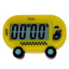 A robust and compact digital timer with simple functions. It is easy to use and quick to learn, featuring a taxi themed design.