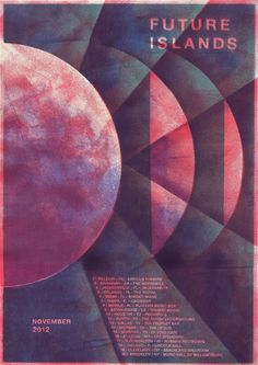 Future Islands concert poster by Rainbow Tour Posters, Band Posters, Music Posters, Event Posters, Future Islands, Pochette Album, Geometric Poster, Design Poster, Poster Designs