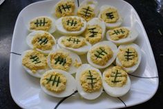 football food- deviled eggs. Perfect for gameday tailgate.