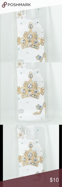 Samsung Galaxy S5 Bling Crown Shoe CellPhone Case Protect your investment from dirt and dust while showcasing your fun personality! Plastic cover with 3D Bling art. Accessories Phone Cases