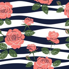 Sweet roses seamless pattern on wavy background Premium Vector Textile Prints, Textiles, Floral Stripe, Fashion Fabric, Vector Art, Clip Art, Sweet, Illustration, Projects