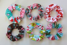 scrunchies.........sew fabric around elastic hair tie.....stitch ends closed.