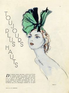 Reboux, Descat, Rose Valois, Le Monnier 1936 Hats 4 Pages Domergue Fashion Illustration by Jean-Gabriel Domergue | Hprints.com