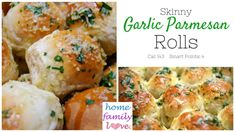 These Skinny Homemade Garlic Parmesan Bread Rolls are a delightful alternative to garlic bread.  They have only a fraction of the calories and fat that traditional garlic bread has but are packed with that garlic flavor.  They are very low calorie and low smart points values.  These are the perfect side dish for any family meal.  These dinner rolls are freezer friendly. You can have these rolls on any diet and still enjoy your bread!