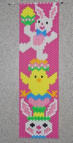 Handmade Easter Bunny Chick Rabbit Beaded Banner with Nylon Cord Hanger