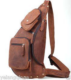 IPAD bag Genuine Leather Travel Cross Chest Shoulder Sling Bag For Men Dark Brown
