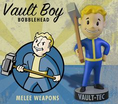 Gaming Heads is proud to present a new range of collectible Vault-Tec® Vault Boy Bobbleheads from Fallout® 3! Series One includes Strength, Melee Weapons, Energy Weapons, Perception, Endurance, Lock Pick and Repair. Each bobblehead is good for 10 Skill Points or 1 Statistic Point. Increase may not exceed level 100 (skills) or level 10 (stats). By using a bobblehead, you agree to exempt Vault-Te