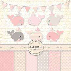 Premium Baby Pink Baby Whales Clip Art & Digital Paper Set - Whale Clipart, Pink Whale Digital Paper, Baby Whales, Pink Whales, Baby Shower