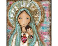 Inmaculado corazón de María con el niño  por FlorLarios en Etsy