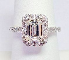 2.00CT Diamond Emerald Cut Halo Engagement Ring Anniversary Band Wedding Bands Rings Diamonds Platinum 18K, 14K White, Yellow, Rose Gold