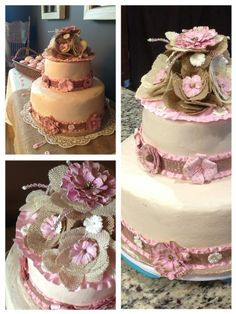 Burlap and lace baby shower cake