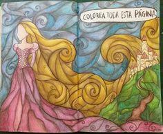 """Destroza este diario/ Wreck this journal """"Colorea toda esta pagina"""" """"Color this entire page"""" #Rapunzel #Disney  Puedes ver esta y mas paginas en mi canal de youtube :) https://youtu.be/fycPh1gnfBs"""