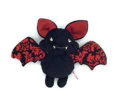 Plush black minky bat and Red cotton, eyes that glow in the dark Chiffon, Halloween, Minnie Mouse, Disney Characters, Fictional Characters, Chic, Collection, Plushies, Glow In Dark