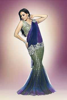 Mermaid themed saree