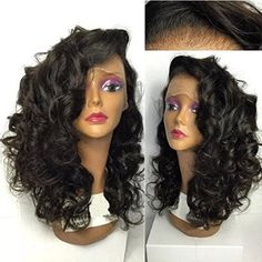 Wigshow Loose Curly Black Color Synthetic Fiber Lace Front Heat Resistant Hair Wigs for Black Women 20''