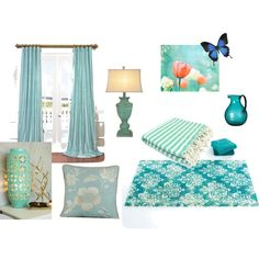 Mood Board_Blue by colleenzy on Polyvore featuring interior, interiors, interior design, home, home decor, interior decorating, Abyss & Habidecor and OKA
