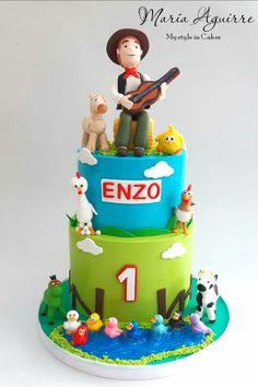Torta de La Granja de Zenón by María AguirrePasteles Farm Birthday Cakes, 2nd Birthday, Farm Party, Farm Theme, Cupcake Cakes, Fondant, Desserts, Food, Party