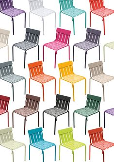 matali crasset's brightly colored stripe chair for fermob contains a playful curved form Outdoor Tables And Chairs, Dining Room Chairs, Striped Chair, Outdoor Garden Furniture, Metal Chairs, Upholstered Chairs, Sofa Design, Upholstery, Product Presentation