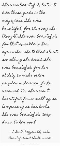 She was beautiful, but not like those girls in the magazines....