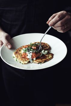 Quark pancakes and a speedy cucumber relish with smoked salmon, avocado or soft, poached egg on the side